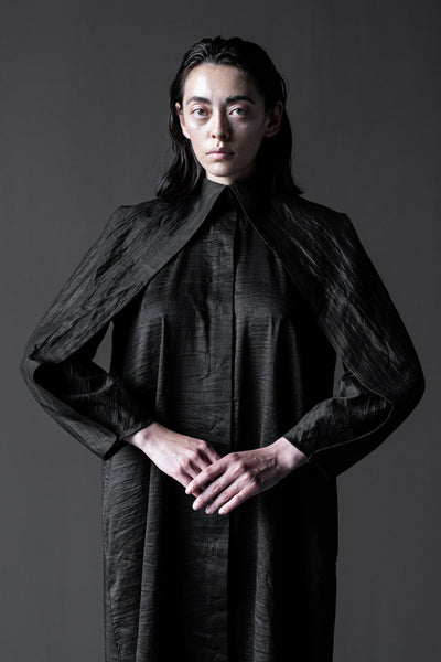 Shop Emerging Conceptual Dark Fashion Womenswear Brand DZHUS Algorithm Collection Black Silk Unity Dress at Erebus
