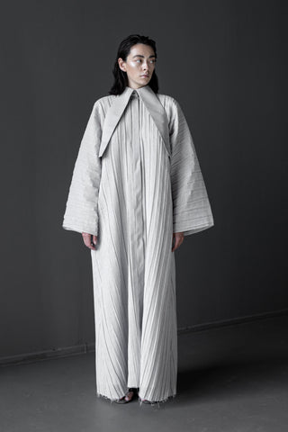 Shop Emerging Conceptual Dark Fashion Womenswear Brand DZHUS Algorithm Collection Grey Symmetry Maxi Dress at Erebus