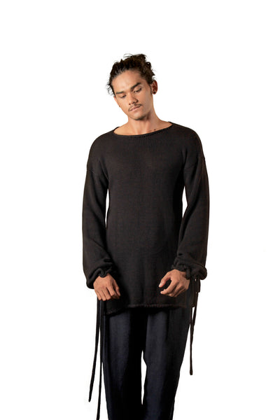Shop Emerging Slow Fashion Agender Avant-garde Designer Mark Baigent Black Danggel Sweater at Erebus