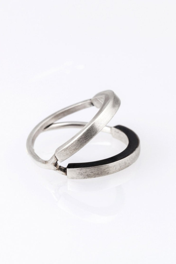 Emerging slow fashion jewellery brand Vika Mayzel Jewelry silver Dave Ring - Erebus - 1