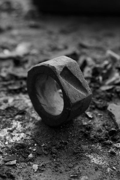 Shop Emerging Avant-garde Jewellery Brand Surface/Cast Black Concrete Depression Medium Ring at Erebus