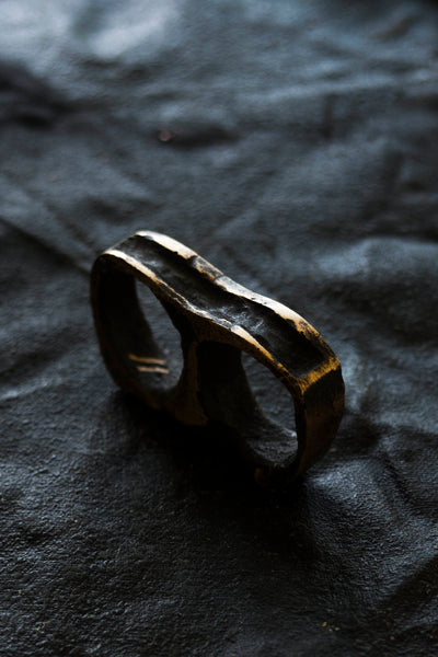 Shop Emerging Avant Garde Jewellery Brand Surface/Cast Blackened Bronze Displaced Mass Double Ring at Erebus
