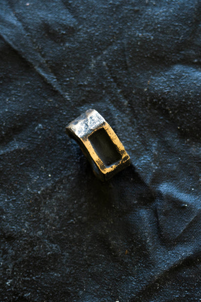 Shop Emerging Avant-garde Jewellery Brand Surface/Cast Blackened Bronze Displaced Mass Medium Ring at Erebus