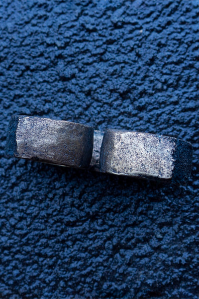 Shop Emerging Slow Fashion Avant-garde Jewellery Brand Surface Cast Blackened Bronze Double Simulation 2 Ring at Erebus