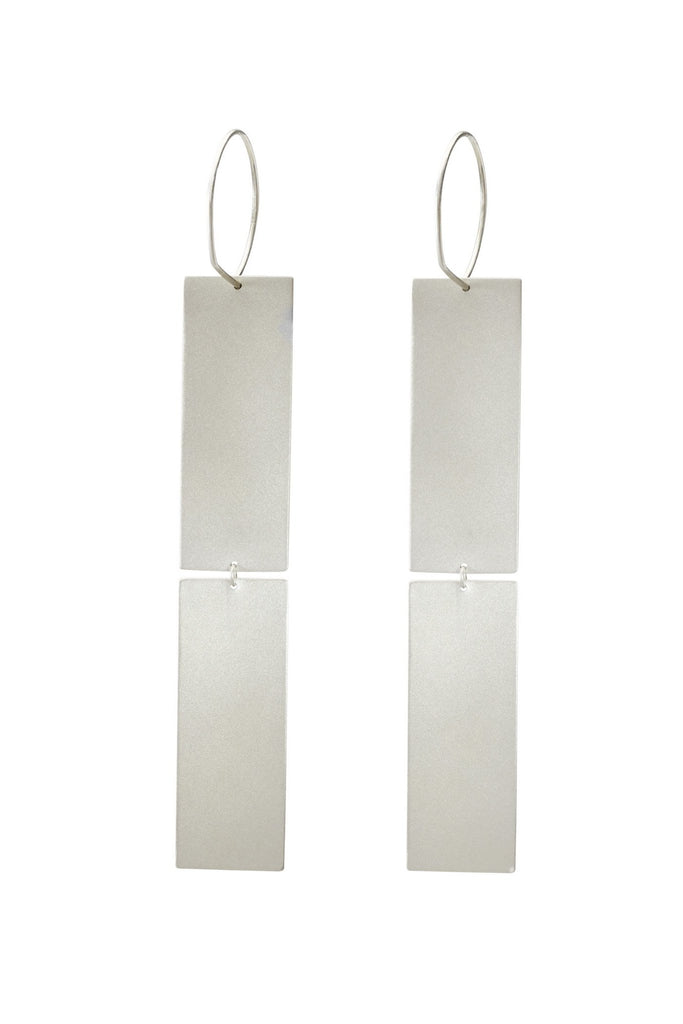 Shop Emerging Structural Jewellery Brand Conservation of Matter Silver Double Rectangle Drop Earrings at Erebus