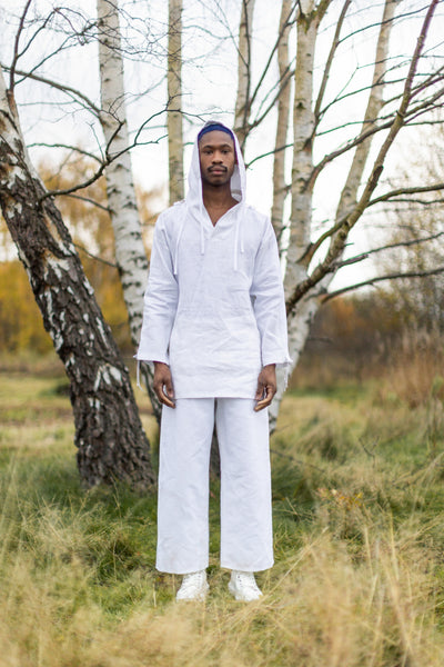 Shop Emerging Unisex Street Brand Monochrome White Organic Linen Round Trousers at Erebus