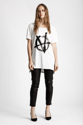 Shop Emerging Conscious Avant-garde Genderless Brand Venia Collection White Vnarchy V-neck Tee at Erebus