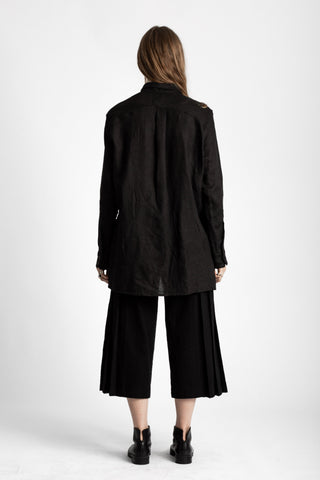 Shop Emerging Conscious Avant-garde Genderless Brand Venia Collection Black Boiled Japanese Wool Fuu Cropped Hakama Pants at Erebus