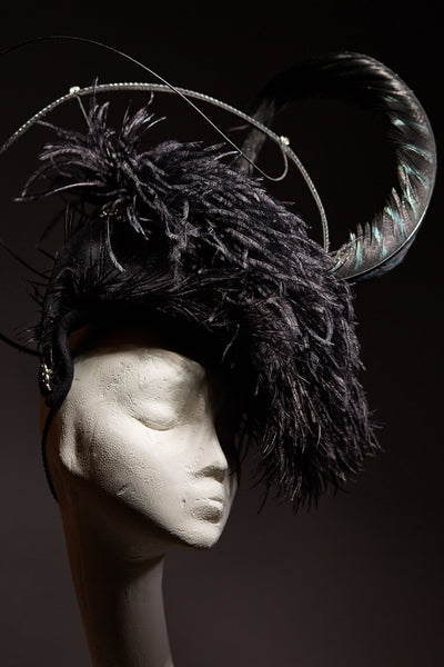 Shop emerging slow fashion milliner Valeria Agostini black Edwardiana Fascinator - Erebus - 1