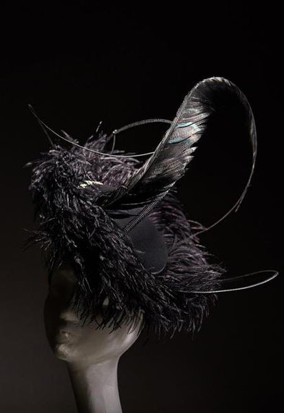 Shop emerging slow fashion milliner Valeria Agostini black Edwardiana Fascinator - Erebus