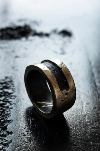 Shop Emerging Slow Fashion Avant-garde Jewellery Brand Surface Cast Blackened Bronze Efface Medium Ring at Erebus