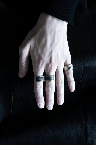 Shop Emerging Slow Fashion Avant-garde Jewellery Brand Surface Cast Blackened Bronze Hack Double Ring at Erebus