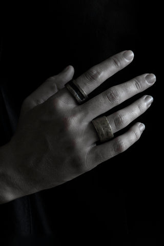 Shop Emerging Slow Fashion Avant-garde Jewellery Brand Surface Cast Blackened Bronze Efface Ring at Erebus