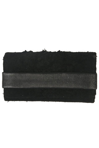Shop Fair Fashion Genderless Avant-garde Basics Brand PULSE by Mark Baigent Collection Black Reclaimed Goat Leather EKKO Clutch Wallet at Erebus