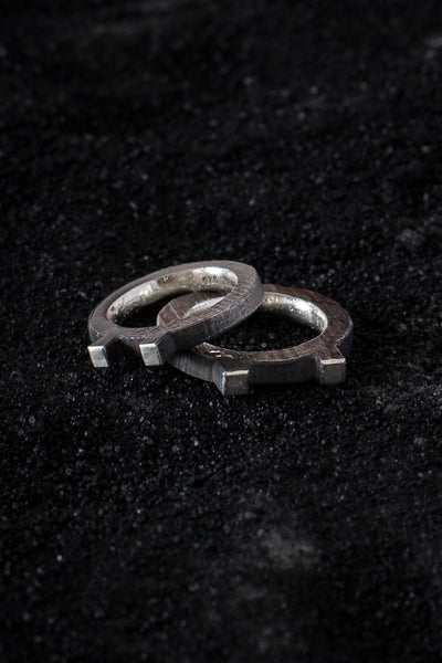 Shop Emerging Minimalist Avant-garde Jewellery Brand B KREB Oxidised Silver El E Ring at Erebus