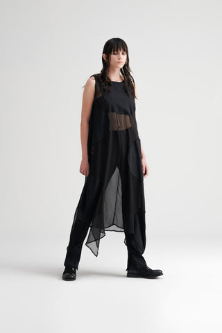 Conscious Womenswear Brand Symetria Black Elliptical Tunic Dress at Erebus