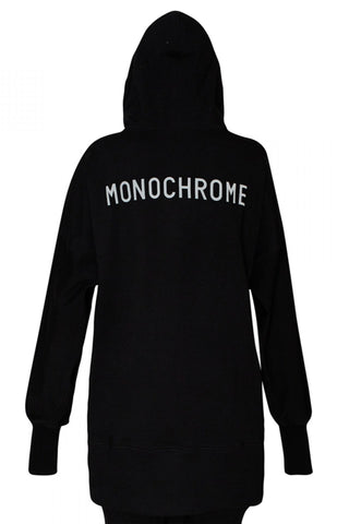 Shop Emerging Unisex Street Brand Monochrome Black Elongated Hooded Sweatshirt at Erebus