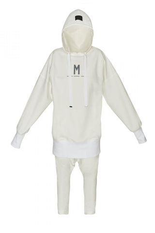 Shop Emerging Unisex Street Brand Monochrome Off-White Elongated Hooded Sweatshirt at Erebus