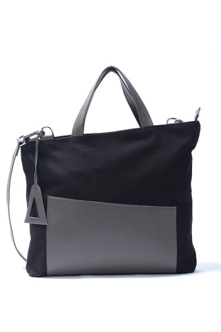 Shop emerging slow fashion designer Anoir by Amal Kiran Jana cotton canvas and leather Asymmetric Tote Bag Grey - Erebus
