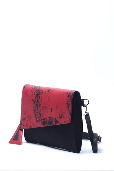 Emerging slow fashion handbag designer Anoir by Amal Kiran Jana red leather and black cotton canvas Cross Body Clutch - Erebus