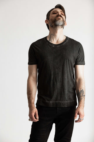 Shop Emerging Conscious Avant-garde Genderless Brand Venia Collection Sulfur Object Dyed Flynn Tee at Erebus