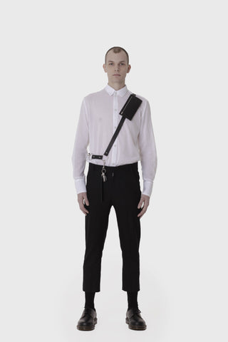 Shop Emerging Slow Fashion Avant-garde Menswear Designer Marco Scaiano Leather Fenris Fanny Belt at Erebus