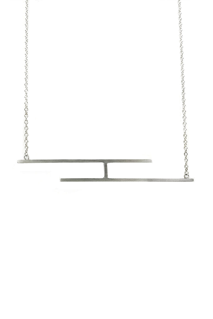 Shop Emerging Structural Jewellery Brand Conservation of Matter Matte Silver Fence Necklace at Erebus
