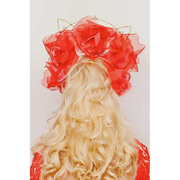 Shop emerging slow fashion milliner Valeria Agostini red Flames of Fire crown - Erebus