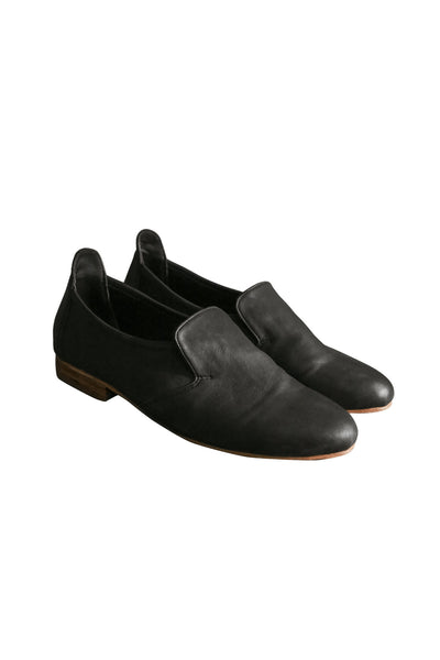 Shop Emerging Slow Fashion Genderless Avant-garde Designer Mark Baigent Rhiannon Collection Black Reclaimed Leather Fleetwood Flats Shoes at Erebus