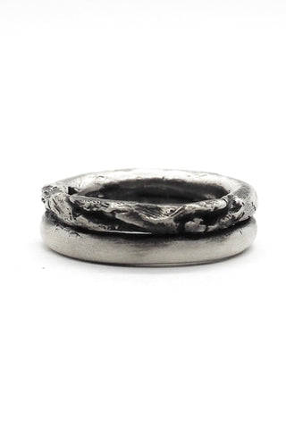 Shop Emerging Slow Fashion Avant-garde Jewellery Brand OSS Haus Broken Dreams Collection Oxidised Silver Double Dream Ring at Erebus