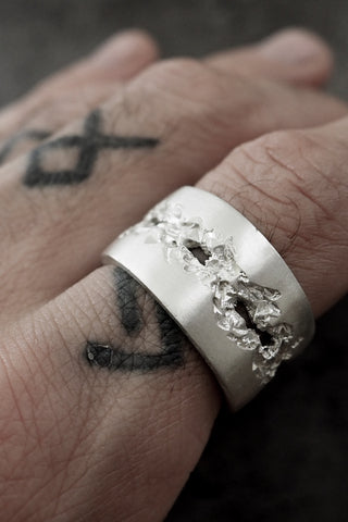 Shop Emerging Slow Fashion Avant-garde Jewellery Brand OSS Haus Broken Dreams Collection White Silver Broken Dreams Ring at Erebus