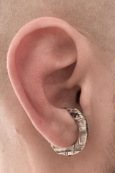 Shop Emerging Slow Fashion Avant-garde Jewellery Brand OSS Haus MSKRA Collection Silver Zaku Ear Cuff at Erebus
