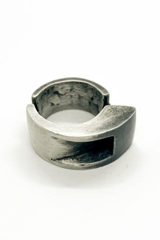 Shop Emerging Slow Fashion Avant-garde Jewellery Brand OSS Haus MSKRA Collection Silver Crusader Ring at Erebus
