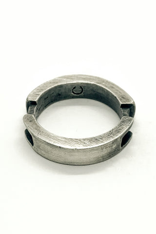 Shop Emerging Slow Fashion Avant-garde Jewellery Brand OSS Haus MSKRA Collection Silver Saber Cyclone Ring at Erebus
