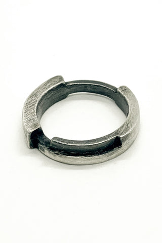 Shop Emerging Slow Fashion Avant-garde Jewellery Brand OSS Haus MSKRA Collection Silver Battler Cyclone Ring at Erebus
