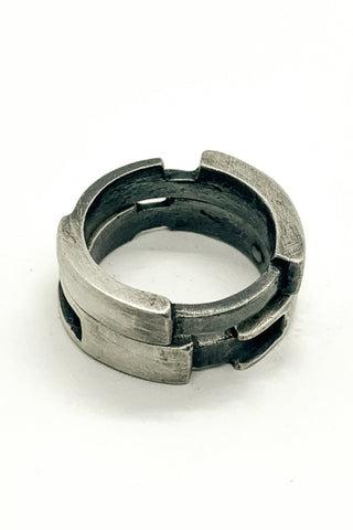 Shop Emerging Slow Fashion Avant-garde Jewellery Brand OSS Haus MSKRA Collection Silver Cyclone Duo Ring Set at Erebus
