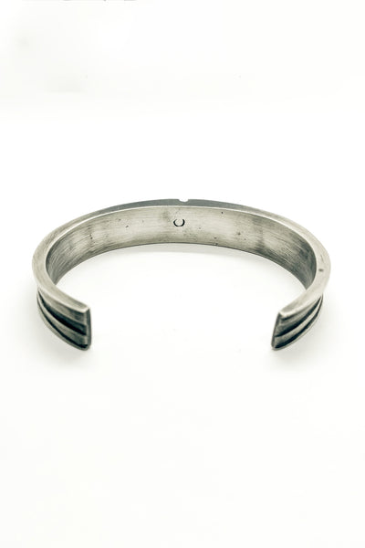Shop Emerging Slow Fashion Avant-garde Jewellery Brand OSS Haus MSKRA Collection Silver Hoplite Bangle Bracelet at Erebus