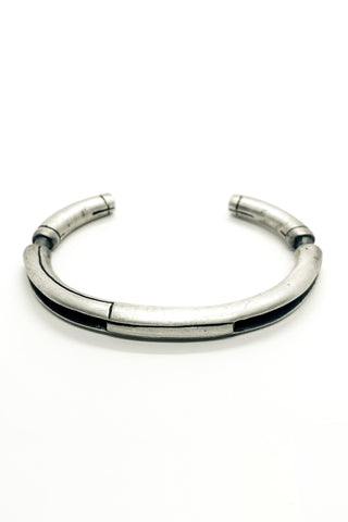 Shop Emerging Slow Fashion Avant-garde Jewellery Brand OSS Haus MSKRA Collection Silver Spartan Bangle Bracelet at Erebus