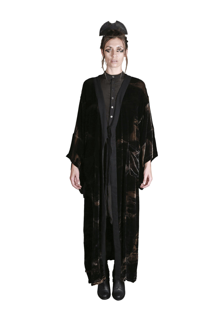 Shop Emerging Slow Fashion Genderless Avant-garde Designer Mark Baigent Rhiannon Collection Black Batik Gold Dust Woman Kimono at Erebus