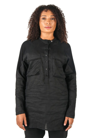 Shop Fair Fashion Genderless Avant-garde Basics Brand PULSE by Mark Baigent Collection Black Linen Gonadal Shirt at Erebus