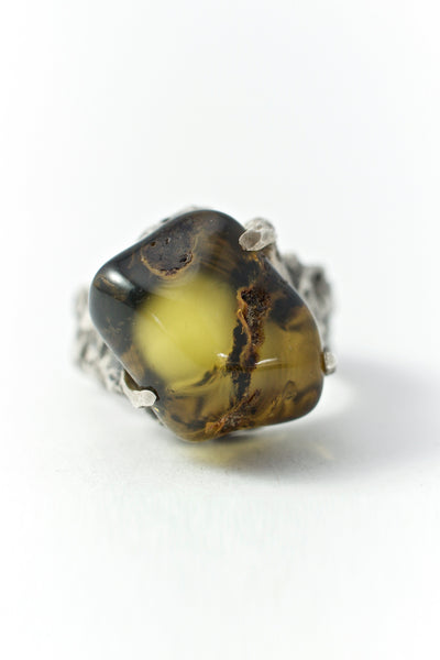 Shop Emerging Conscious Avant-garde Brand Black Rock Jewel Green Baltic Amber Ring at Erebus
