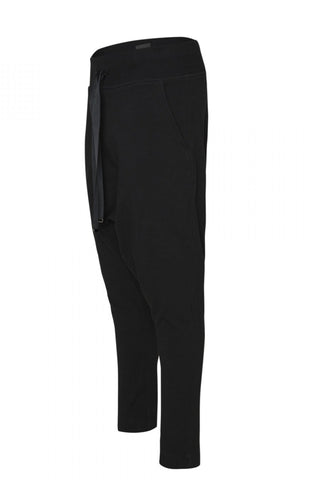 Shop Emerging Unisex Street Brand Monochrome Black Gusset Sweatpants at Erebus