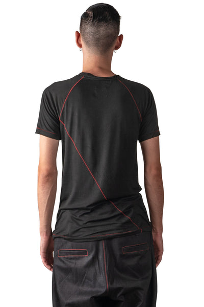 Shop Emerging Slow Fashion Genderless Avant-garde Designer Mark Baigent Spittelberg Collection Black Tencel with Red Contrast Stitching Guta Short Sleeve T-Shirt at Erebus