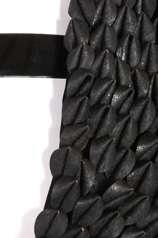 Shop Emerging Slow Fashion Avant-garde Unisex Brand Dhenze Kollektion 5 Black Denki Harness with Black Cork Epaulette at Erebus