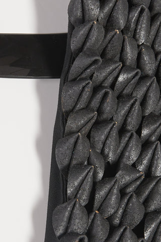 Shop Emerging Slow Fashion Avant-garde Unisex Brand Dhenze Kollektion 5 Black Denki Harness with Grey Cork Epaulette at Erebus