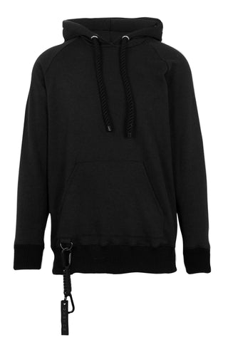 Shop Emerging Slow Fashion Avant-garde Unisex Brand Dhenze Kollektion 5 Black Half Hitch Hoodie at Erebus