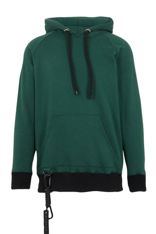 Shop Emerging Slow Fashion Avant-garde Unisex Brand Dhenze Kollektion 5 Green Half Hitch Hoodie at Erebus