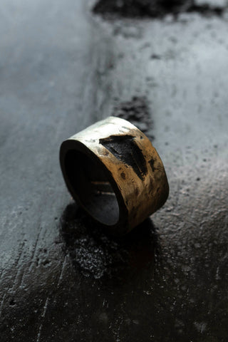 Shop Emerging Slow Fashion Avant-garde Jewellery Brand Surface Cast Blackened Bronze Hack Medium Ring at Erebus