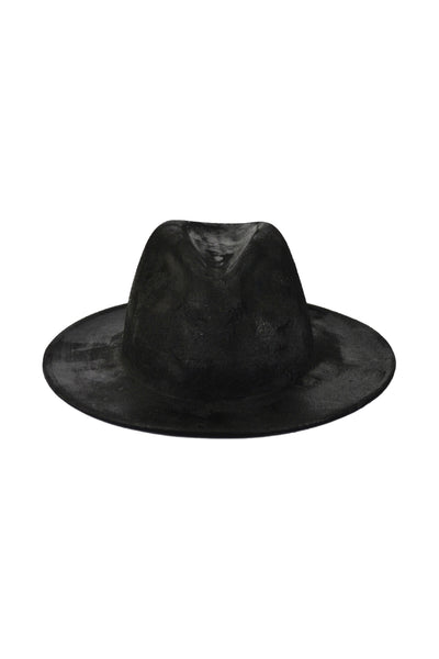 Shop Emerging Conscious Slow Fashion Avant-garde Designer Marco Scaiano Black Wet Look Wool Petrichor Hat at Erebus