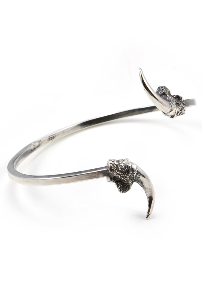 Shop emerging slow fashion jewellery brand Eilisain Hunted II Single Owl Talon Cuff Silver - Erebus